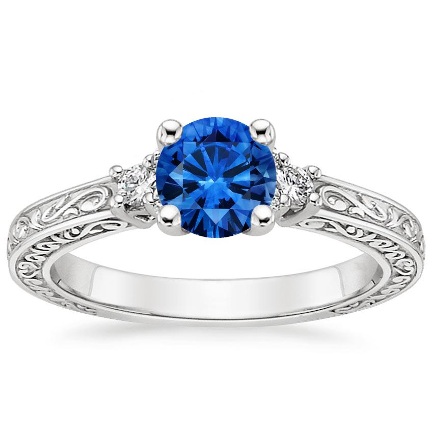 Sapphire Adorned Trio Diamond Ring in 18K White Gold with 5.5mm Round Blue Sapphire