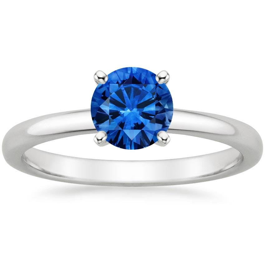 Sapphire 2mm Comfort Fit Ring in 18K White Gold with 6mm Round Blue Sapphire