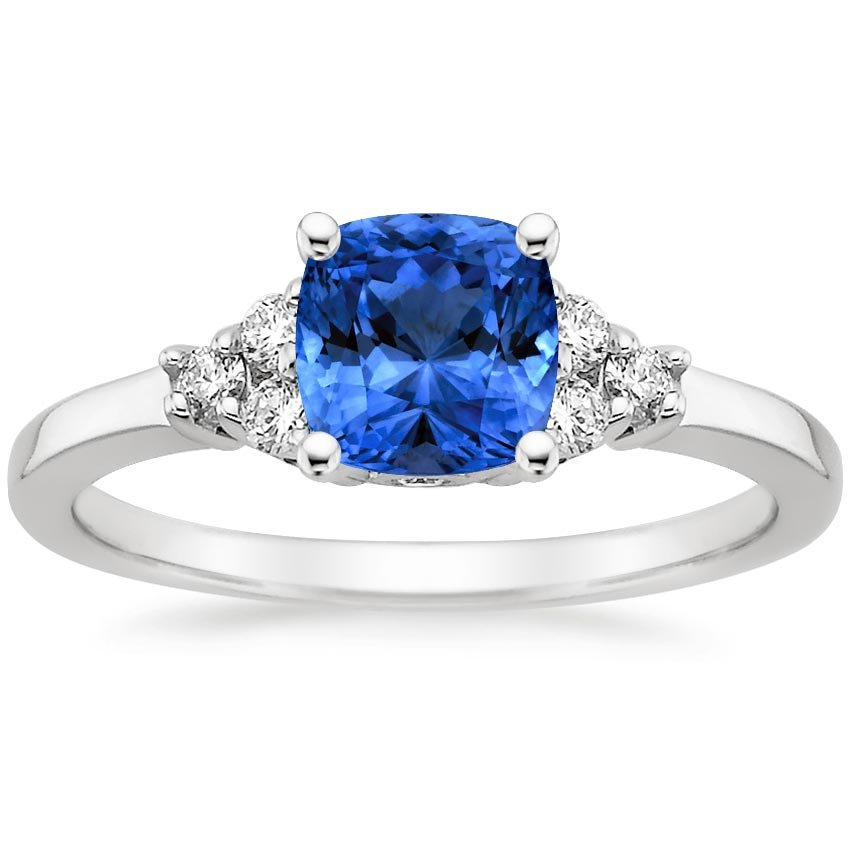 Platinum Sapphire Trio Diamond Ring, top view