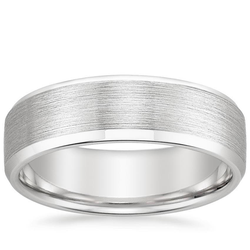 6.5mm Beveled Edge Matte Wedding Ring in Platinum