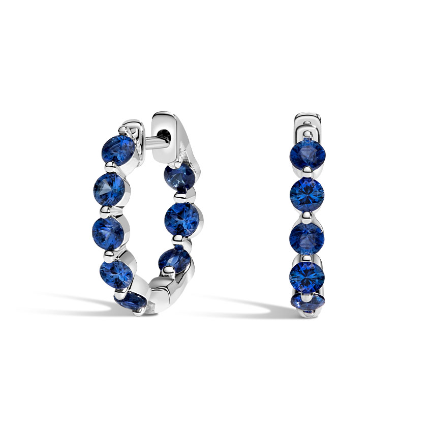 Sapphire Hoop Inside and Out Earrings