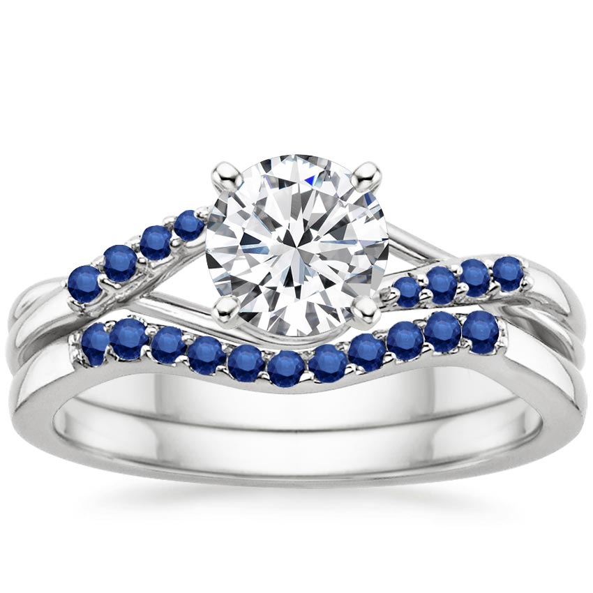 18k white gold chamise matched set with sapphire accents for Wedding ring sets with sapphire accents