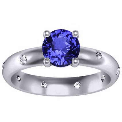 18K White Gold Sapphire Nova Ring, top view