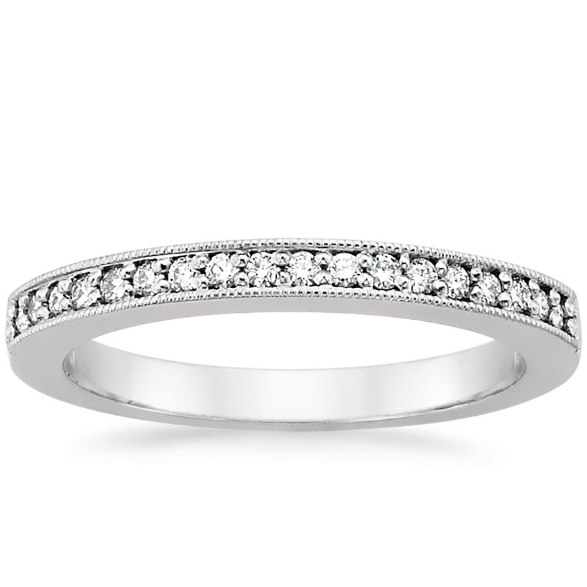 18K White Gold Pavé Milgrain Diamond Ring, top view