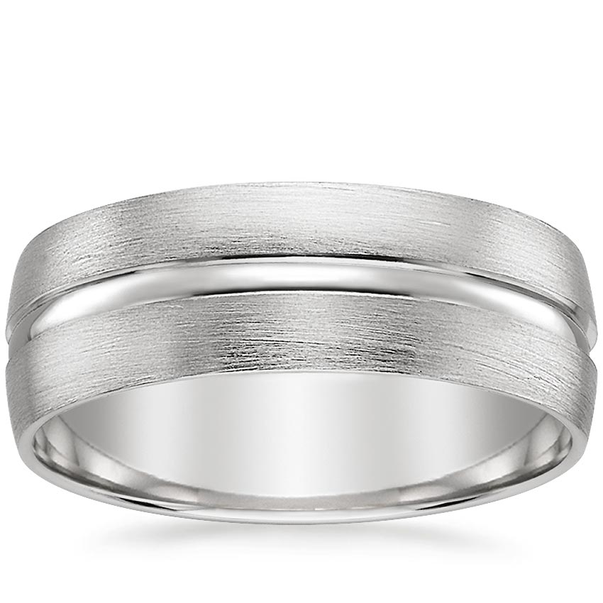 18K White Gold Maverick Wedding Ring, top view