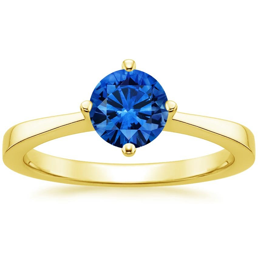 Sapphire True North Ring in 18K Yellow Gold with 6mm Round Blue Sapphire