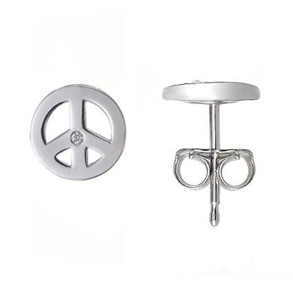 Silver Peace Sign Stud Earrings, top view