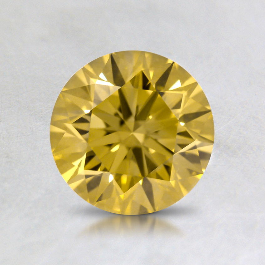 1.00 Ct. Lab Created Fancy Yellow Round Diamond, top view