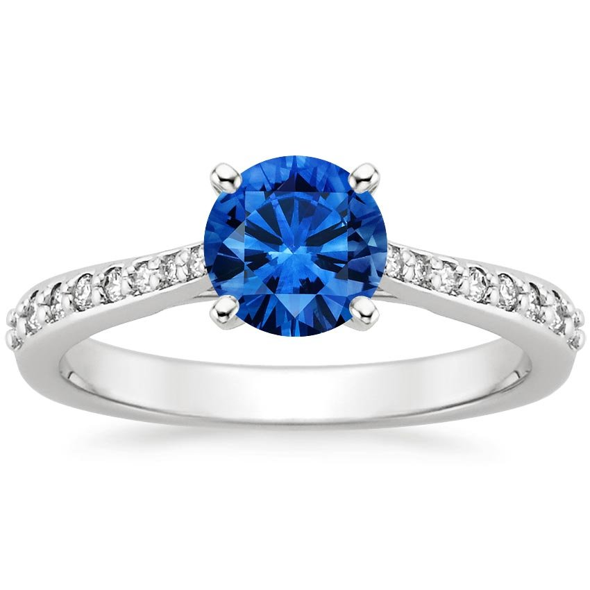 18K White Gold Sapphire Petite Tapered Pavé Diamond Trellis Ring, top view