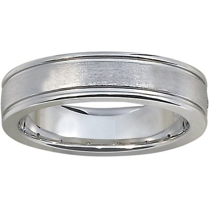 brushed wedding ring with polished edges in 18k white gold