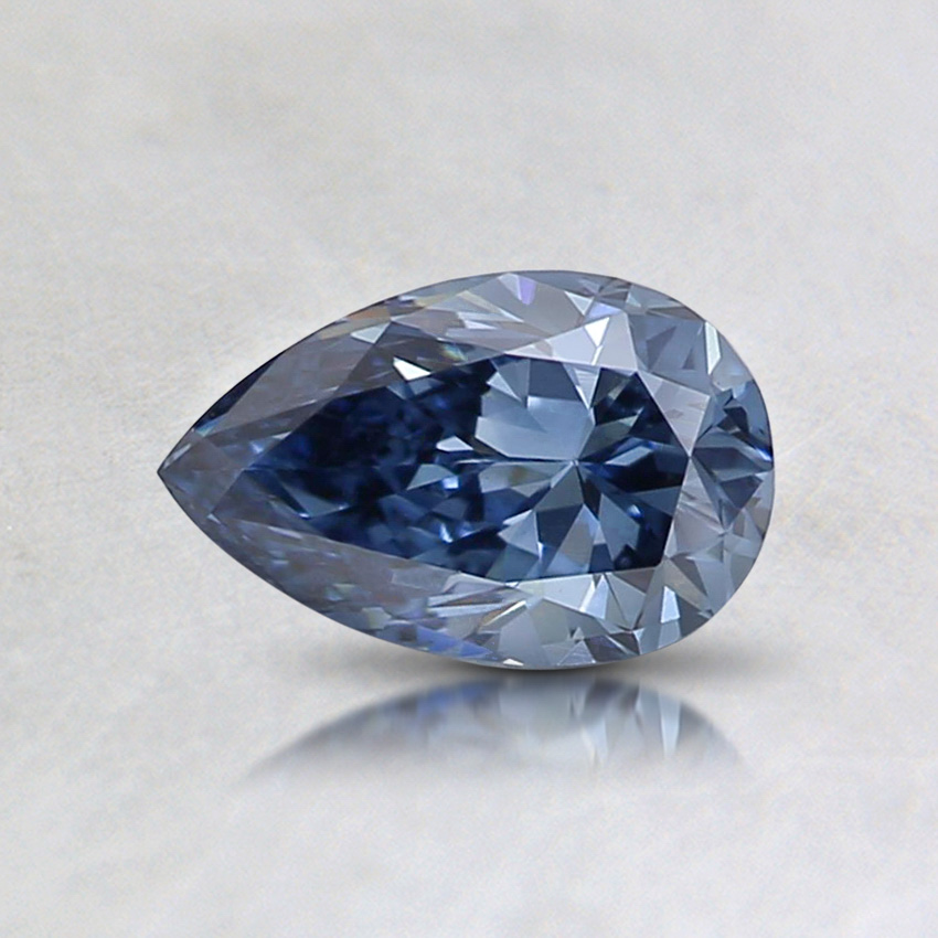0.51 ct. Lab Created Fancy Vivid Blue Pear Diamond, top view