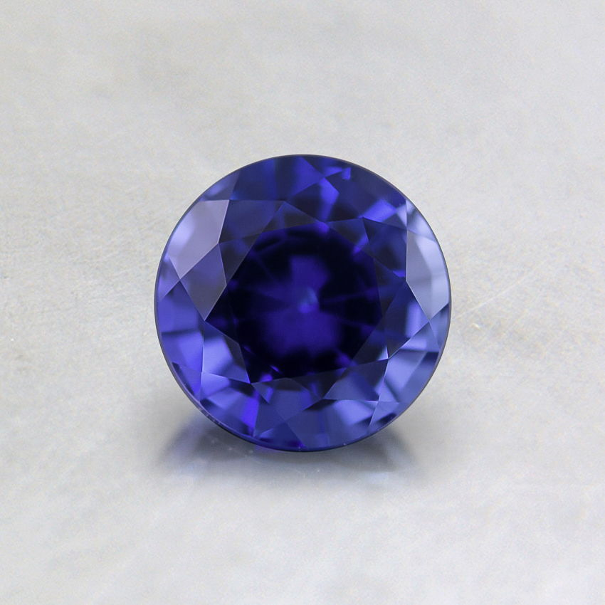 5mm Lab Created Blue Round Sapphire, top view