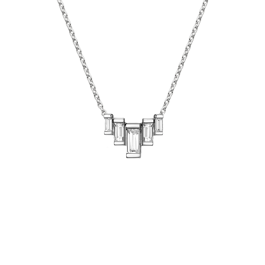 Five Baguette Diamond Line Pendant