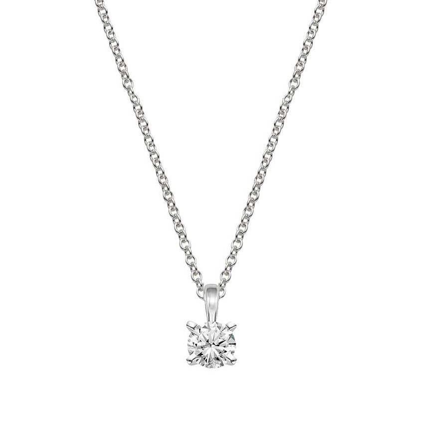 Four-Prong Diamond Pendant (1/2 ct. tw.) in Platinum