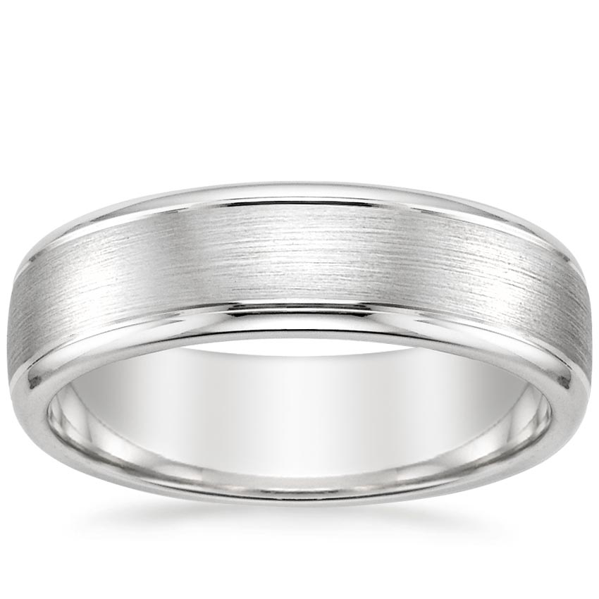 Top Twenty Men's Wedding Rings  - 6MM BEVELED EDGE MATTE WEDDING RING WITH GROOVES