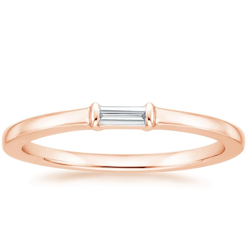 Rose Gold Single Baguette Diamond Ring