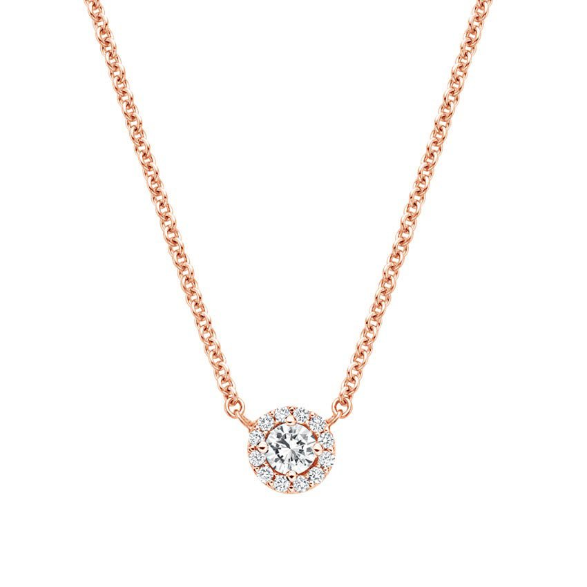 14K Rose Gold Diamond Halo Necklace, top view
