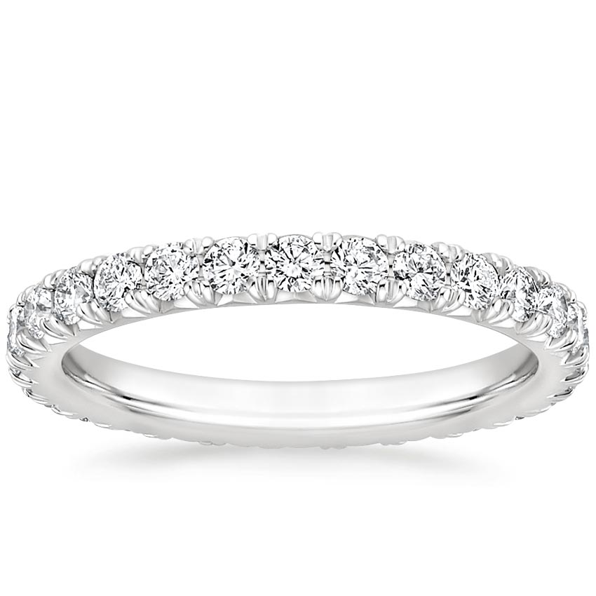 French Pavé Eternity Diamond Ring (1 ct. tw.) in 18K White Gold