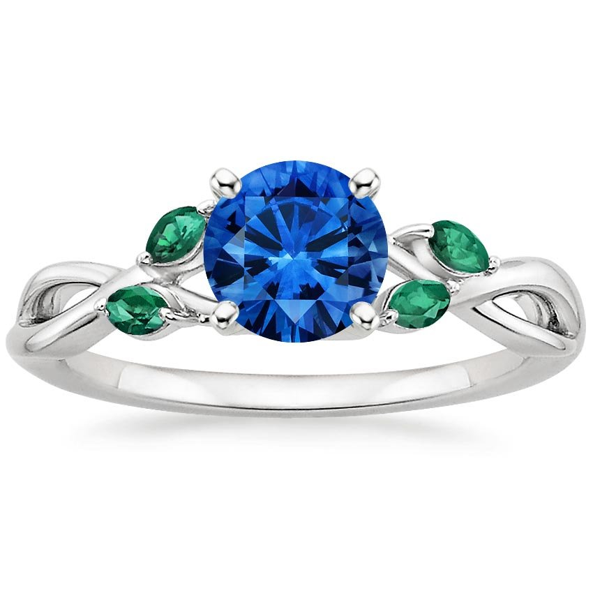 Top Twenty Sapphire Rings - SAPPHIRE WILLOW RING WITH LAB EMERALD ACCENTS