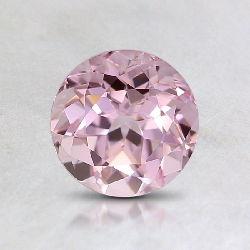 6mm Lab Created Pink Round Sapphire, top view