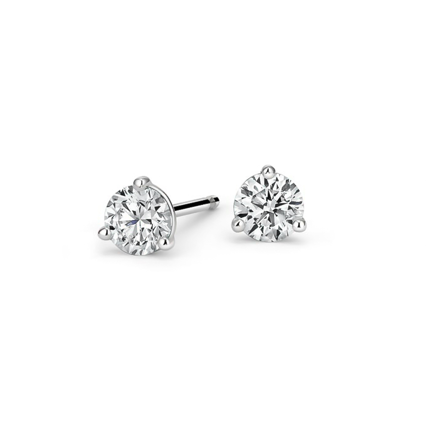 Three-Prong Martini Round Diamond Stud Earrings (1 ct. tw.) in 18K White Gold
