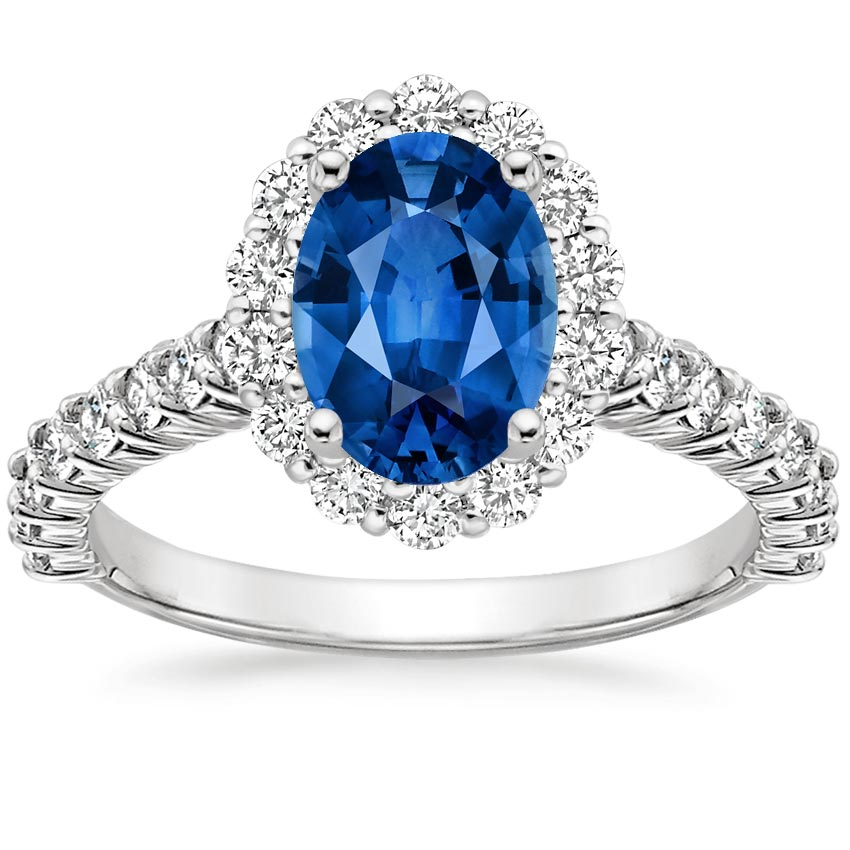 sapphire lotus flower diamond ring with side stones in 18k. Black Bedroom Furniture Sets. Home Design Ideas