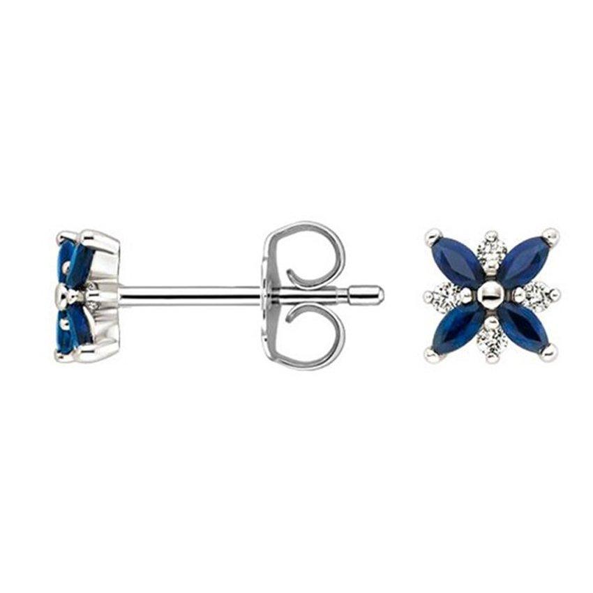 and Diamond Petal Earrings in 18K White Gold