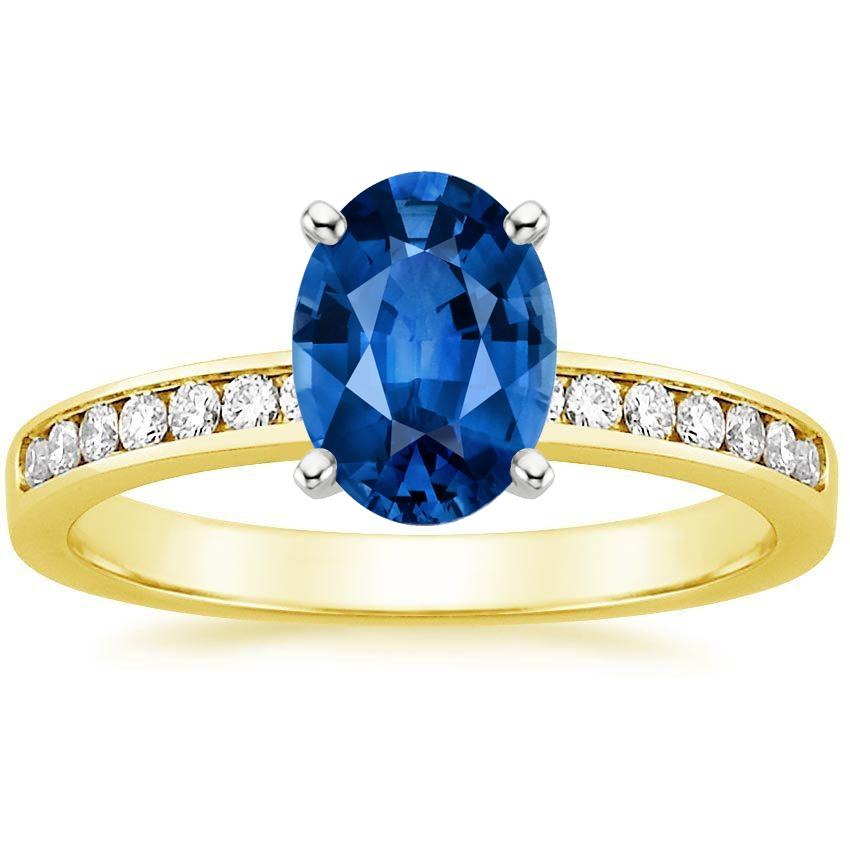 18K Yellow Gold Sapphire Petite Channel Set Round Diamond Ring, top view