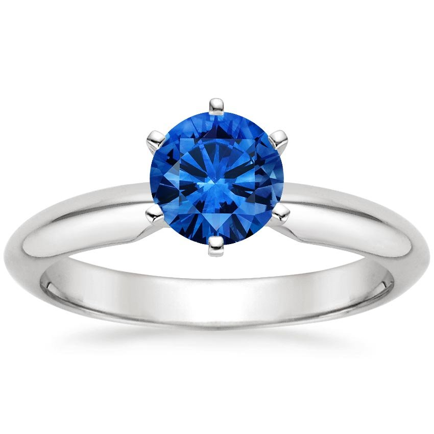 18K White Gold Sapphire Six-Prong Classic Ring, top view