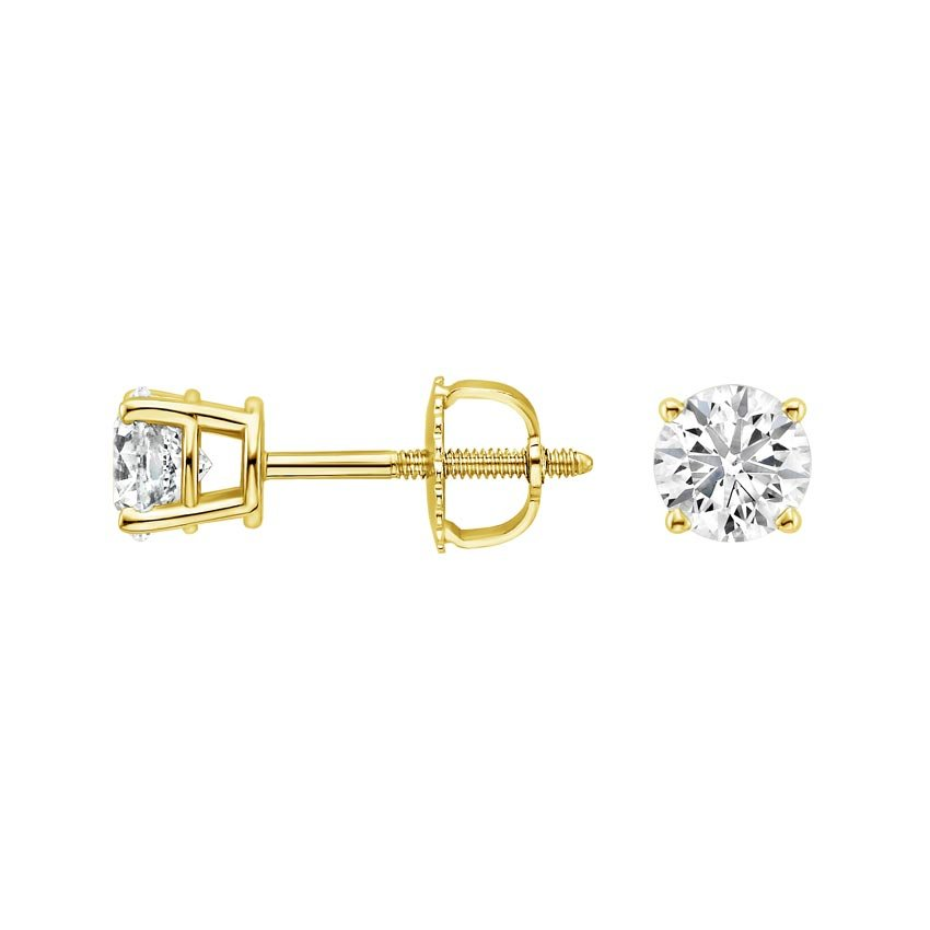 18K Yellow Gold Round Diamond Stud Earrings (1 ct. tw.), top view