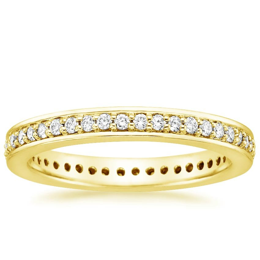 18K Yellow Gold Pavé Diamond Eternity Ring, top view