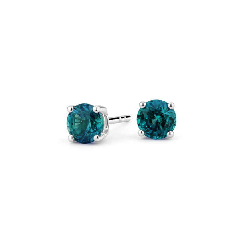 Teal Sapphire Stud Earrings