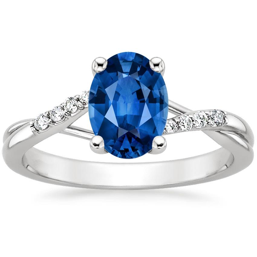 Sapphire Chamise Diamond Ring in 18K White Gold with 8x6mm Oval Blue Sapphire