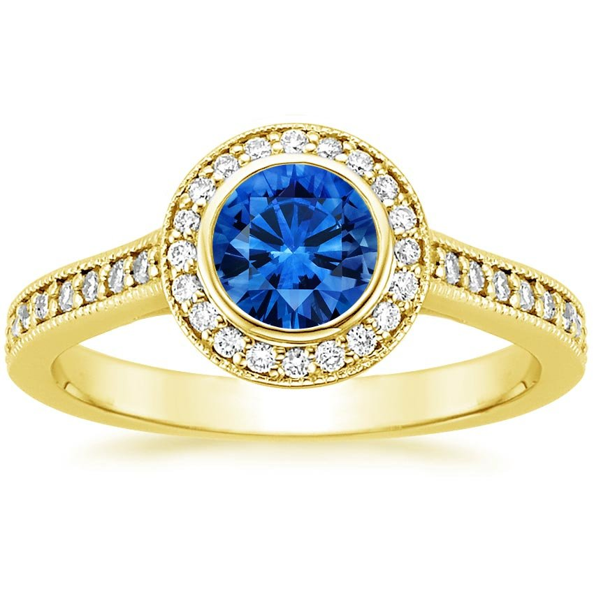 18K Yellow Gold Sapphire Round Bezel Halo Diamond Ring with Side Stones, top view