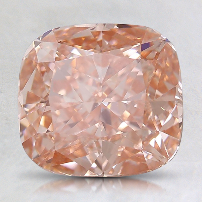 2.55 Ct. Fancy Orangy Pink Cushion Lab Created Diamond