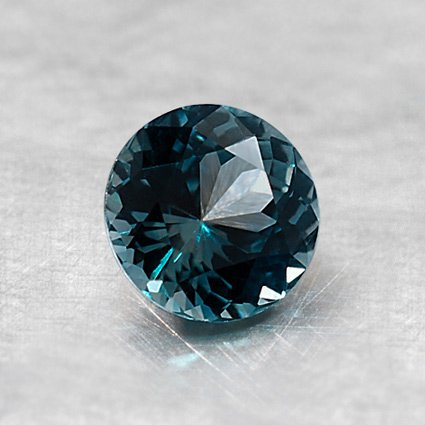 5.5mm Teal Round Sapphire, top view