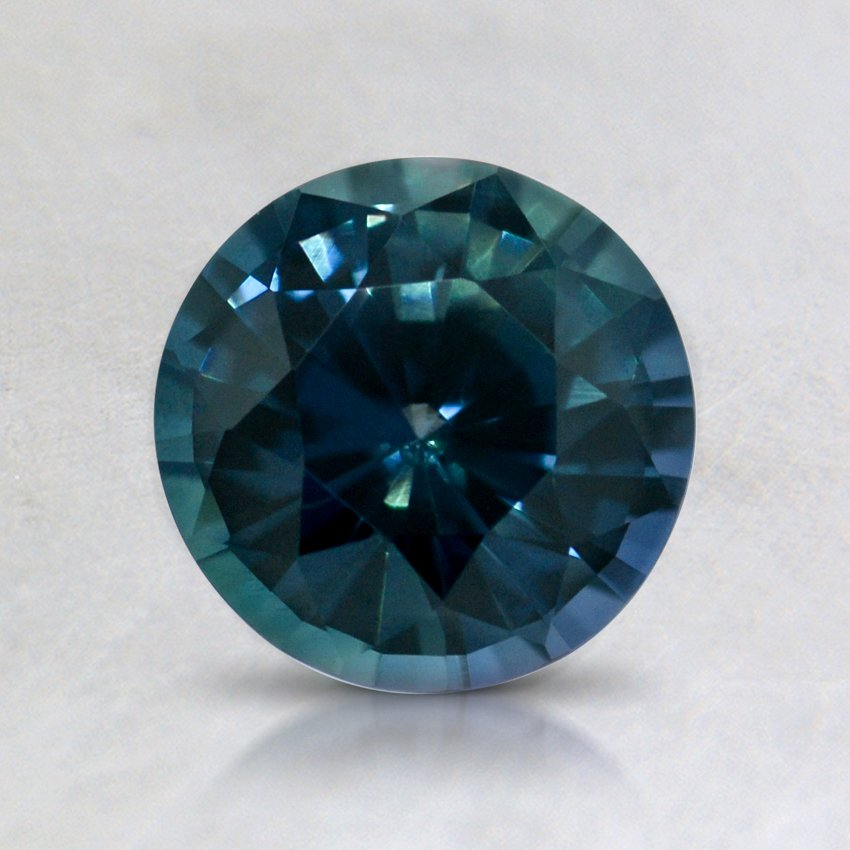 6.5mm Super Premium Teal Round Sapphire, top view