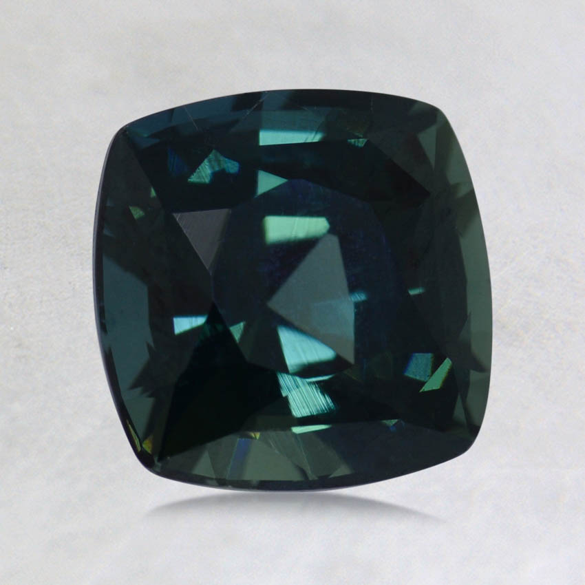 7mm Unheated Teal Cushion Sapphire, top view