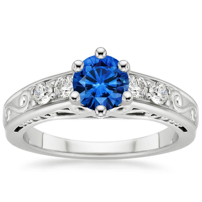 Sapphire Art Deco Filigree Diamond Ring (1/4 ct. tw.) in 18K White Gold with 5.5mm Round Blue Sapphire