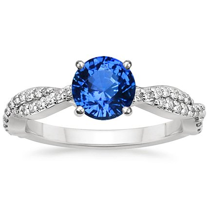 Sapphire Twisted Vine Diamond Ring in 18K White Gold with 6mm Round Blue Sapphire
