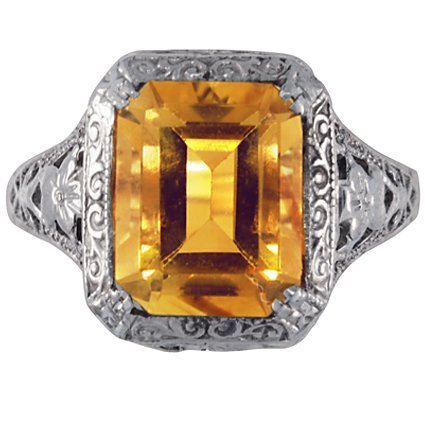 Art Nouveau Citrine Vintage Ring