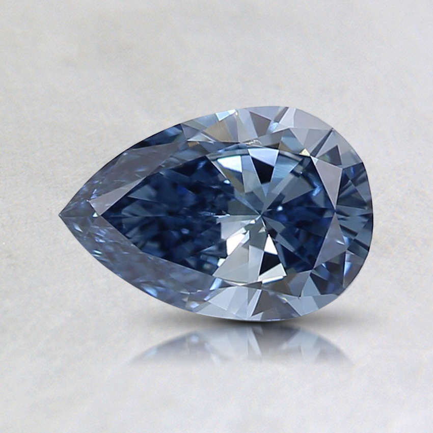 0.64 ct. Lab Created Fancy Vivid Blue Pear Diamond, top view