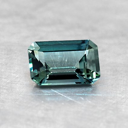 6X4mm Teal Emerald Cut Sapphire, top view
