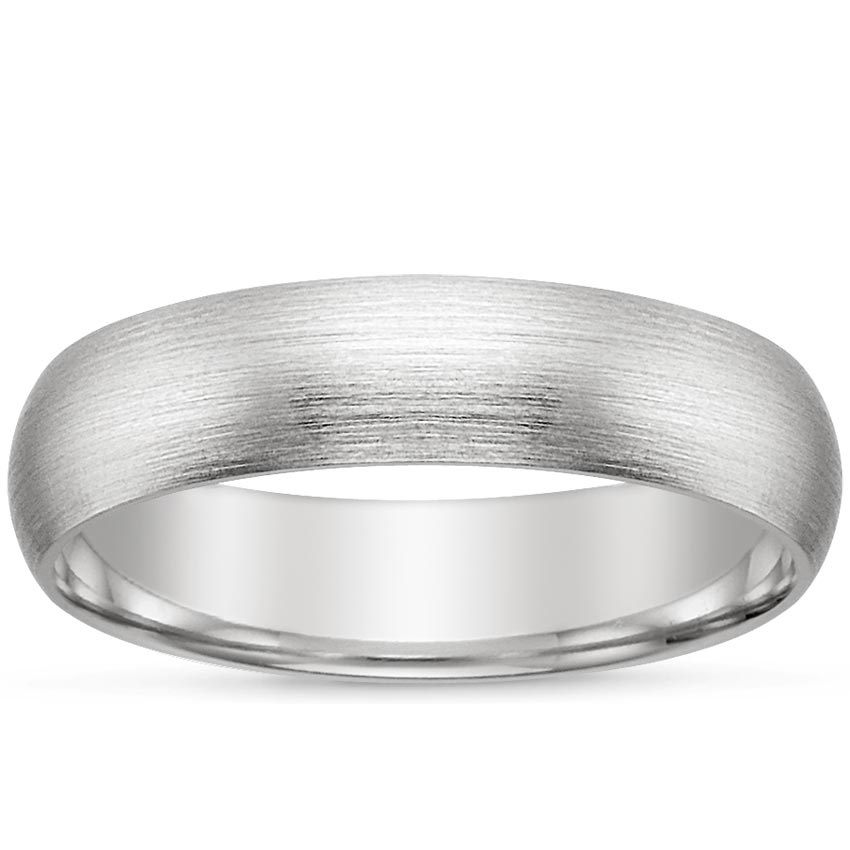 18K White Gold 5mm Matte Comfort Fit Wedding Ring, top view
