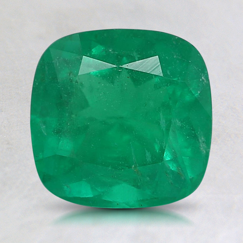 7.6mm Premium Green Cushion Emerald