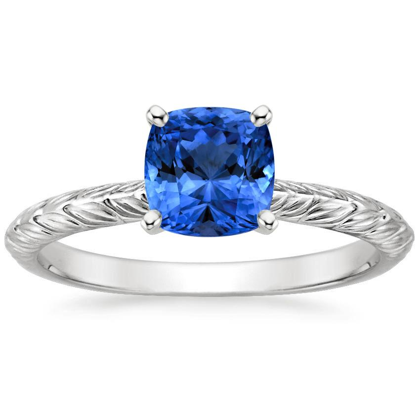 Sapphire Garland Ring in 18K White Gold with 6x6mm Cushion Blue Sapphire
