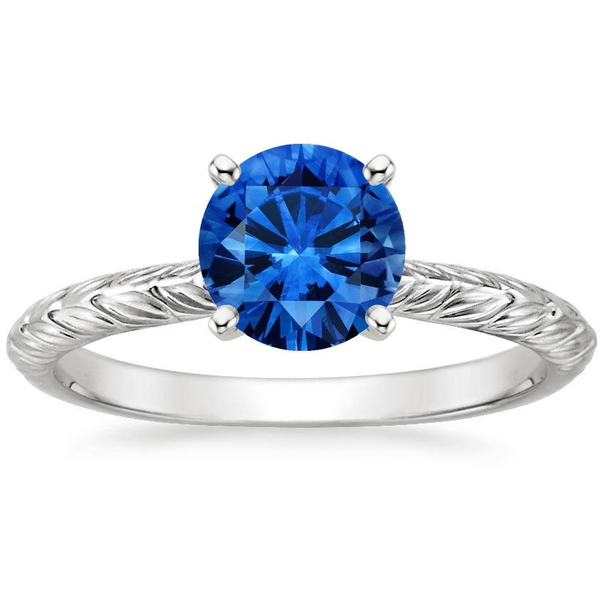 Sapphire Garland Ring in Platinum with 6.5mm Round Blue Sapphire