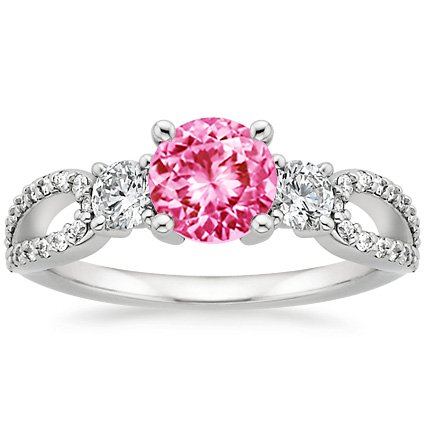 Sapphire Lumiere Three Stone Ring (1/2 ct. tw.) in 18K White Gold with 6mm Round Pink Sapphire