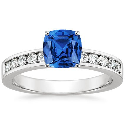 Sapphire Round Channel Diamond Ring in 18K White Gold with 6x6mm Cushion Blue Sapphire