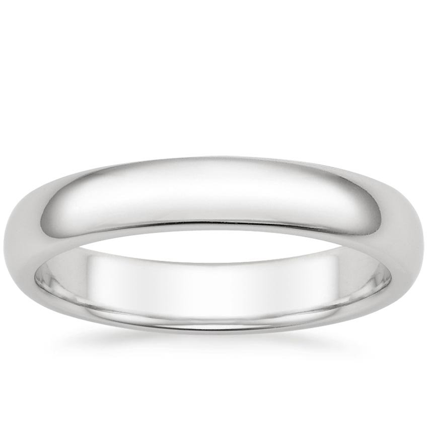 18K White Gold 4mm Comfort Fit Wedding Ring, top view